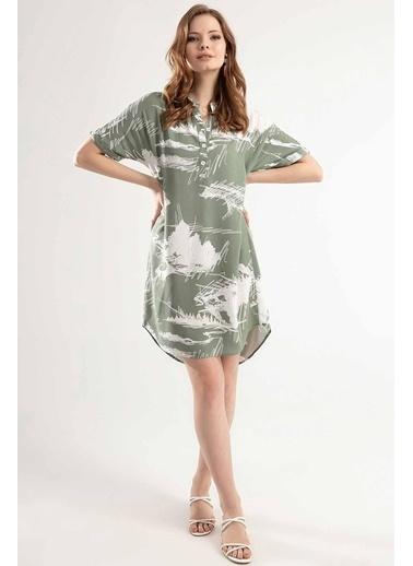 Pattaya Pattaya Kadın Yarım Düğmeli Kısa Kollu Mini Elbise Y20S110-1560 Haki
